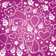 Seamless pattern with cats — Imagen vectorial