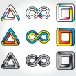 Stock Vector: Set of abstract infinite logos