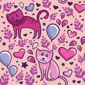 恋の猫とのシームレスなパターン — ストックベクタ