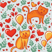 Seamless pattern with cats in love — Stok Vektör