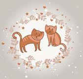 Cartão com gatos no amor — Vetor de Stock