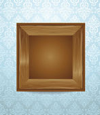 Beautiful wooden frame on blue wallpaper — Stock Vector