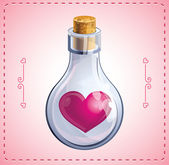 Valentine card with heart in bottle — Stock Vector