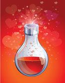 Liebe elixier in kleine flasche — Stockvektor