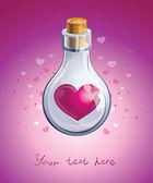 Botella de cristal con corazón de color rosa en su interior cerrado — Vector de stock