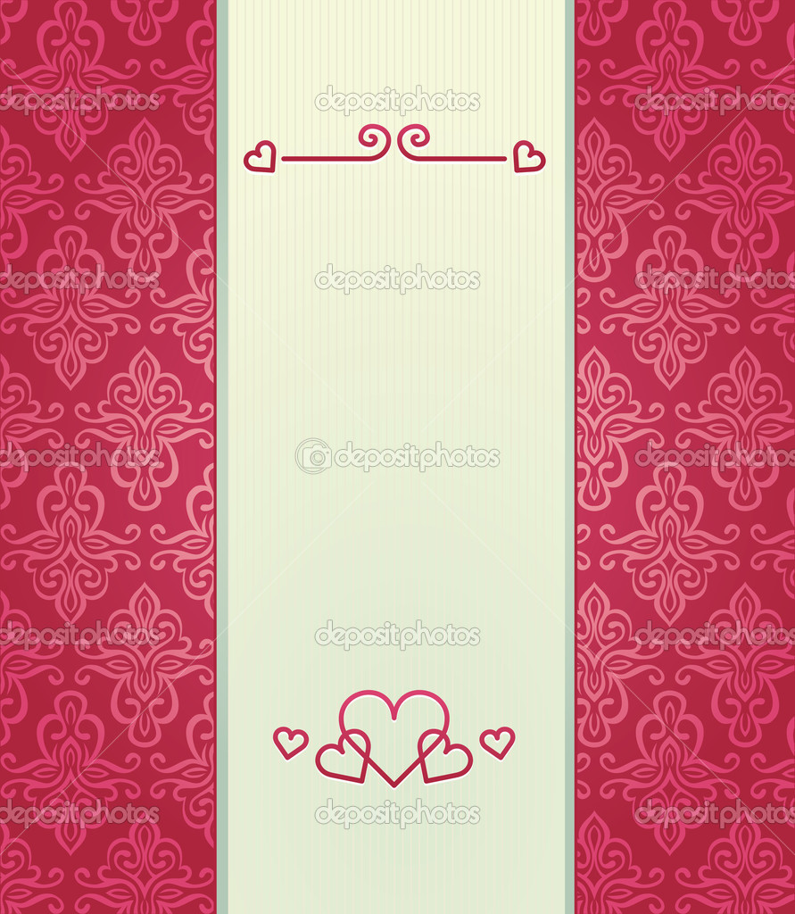 Pink vintage background with love theme - vector illustration — Stock Vector #8394713