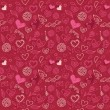 Seamless love pattern in doodle style — Vector de stock #8459777