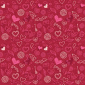 Seamless love pattern in doodle style — Vector de stock