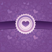 Abstract love background with ribbon and badge — Stock Vector