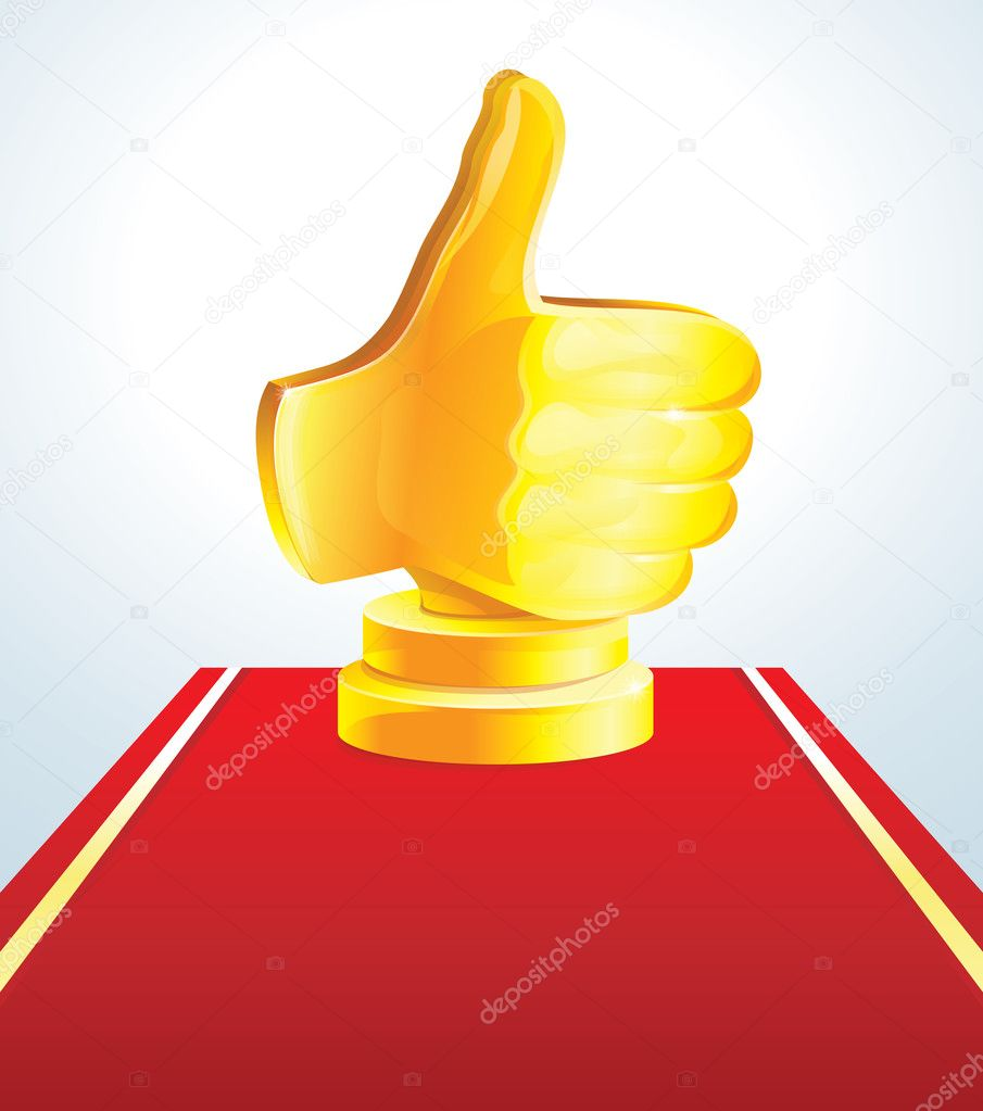 Golden best choice award - golden hand  - vector illustration  Stock Vector #8459720