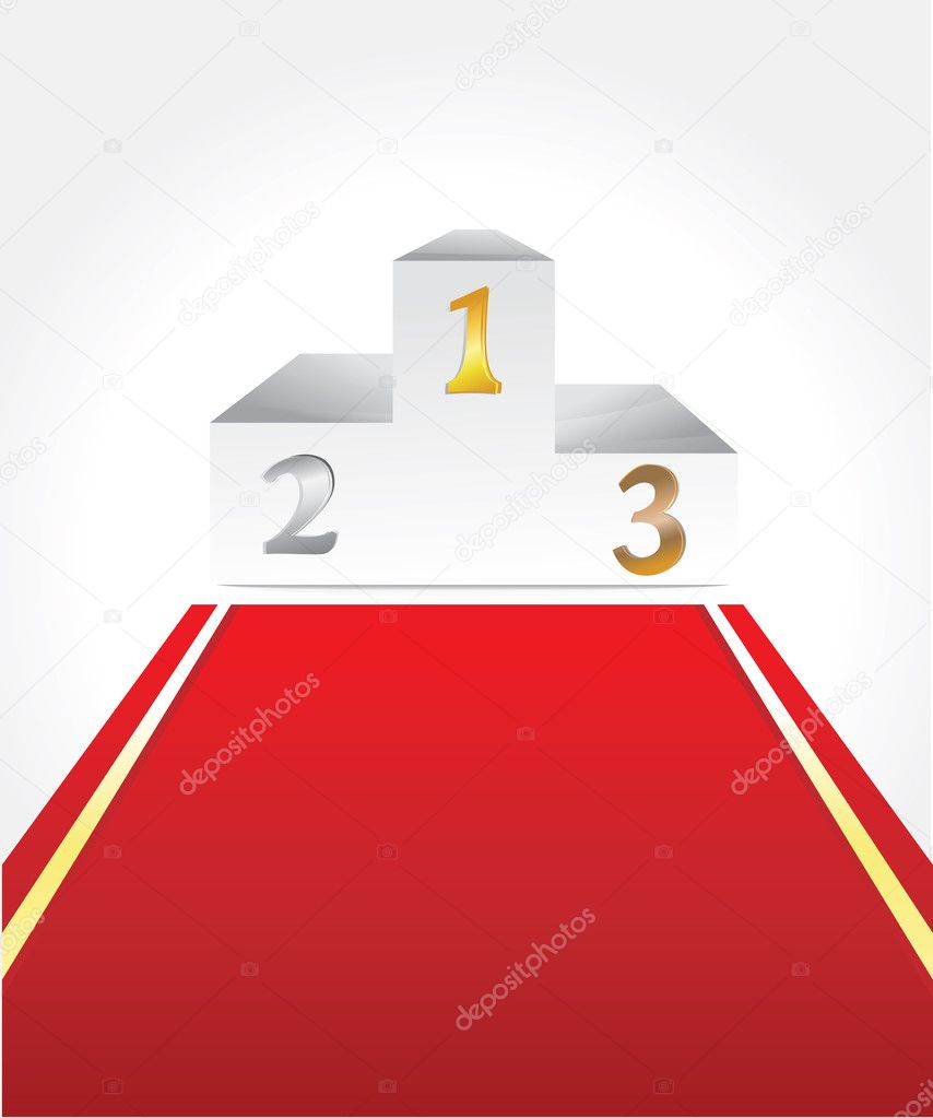 Vector white podium with three places for winners — Stock Vector #8459817