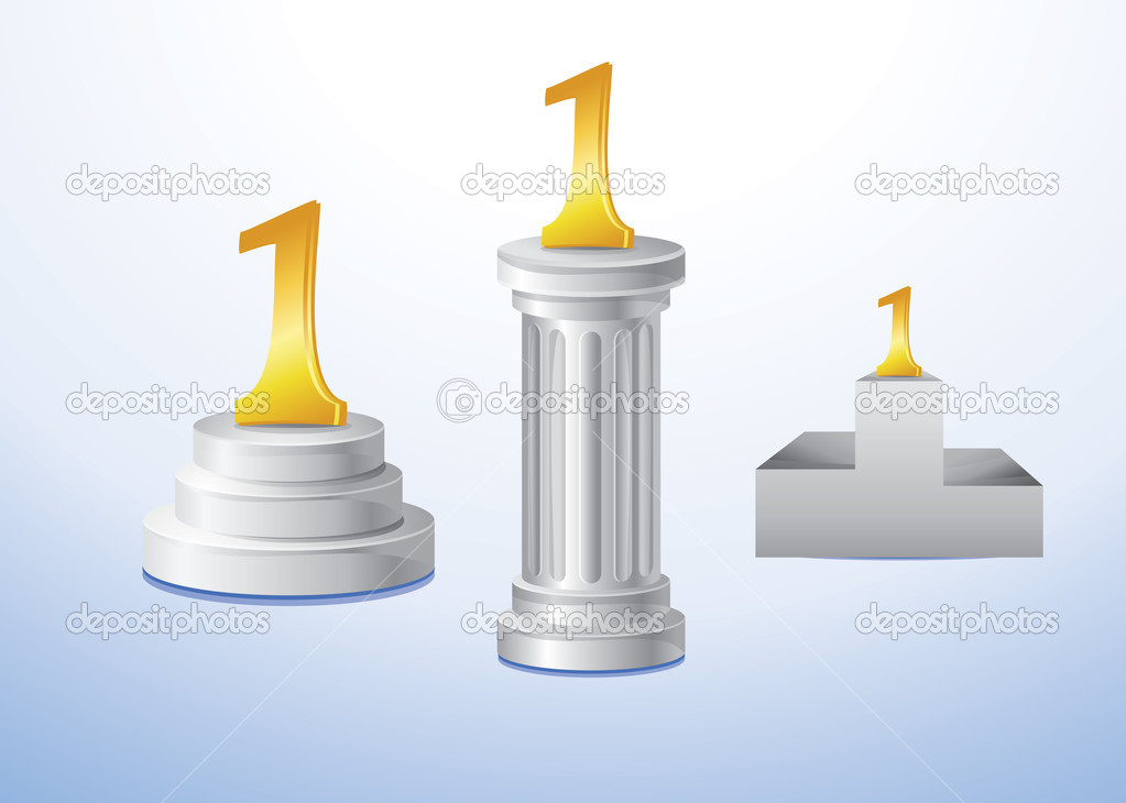 Set of podiums for first place - vector illustation  Stock Vector #8459823