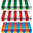 Set of striped awnings for store - Stockvektor