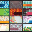 Collection of 12 horizontal business cards — Image vectorielle