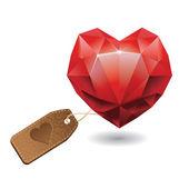 Red heart diamond — Vetor de Stock