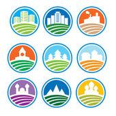 Abstracte logo met landschappen — Stockvector