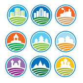Logo astratto con paesaggi — Vettoriale Stock