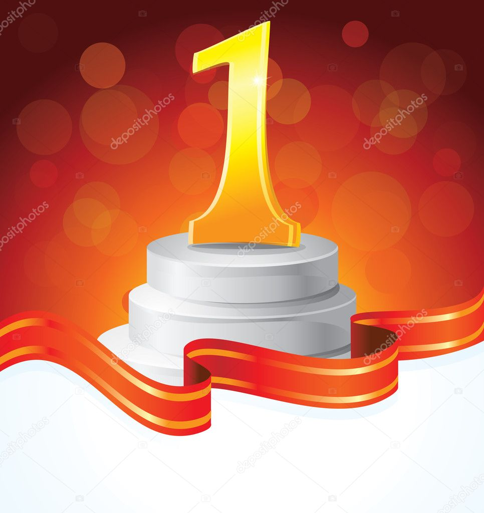 Golden prize for first place  - vector illustration — Image vectorielle #8554439
