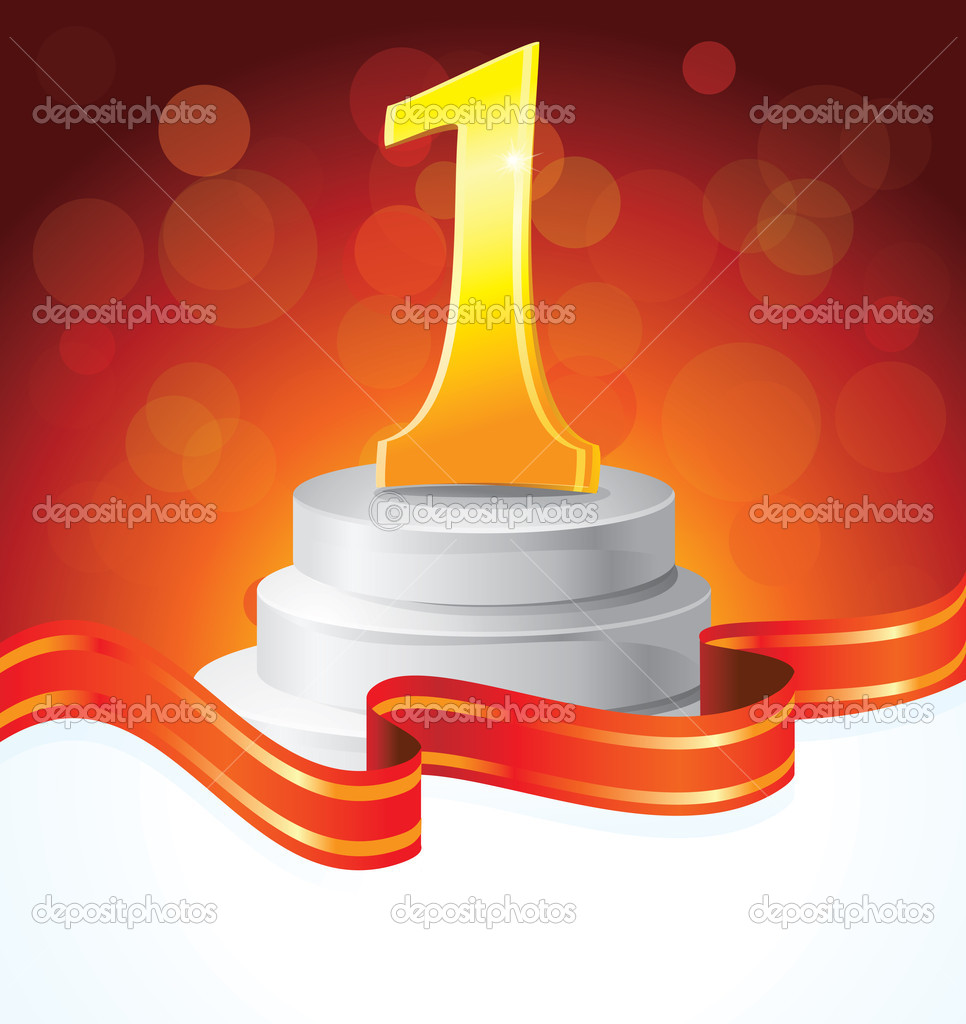Golden prize for first place  - vector illustration  Stockvectorbeeld #8554439