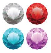 Uppsättning av runda diamanter i 4 färger — Stockvektor
