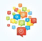 Fundo de mídia social com bolhas do discurso — Vetorial Stock