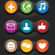 Stock Vector: Set of nine vector social media buttons