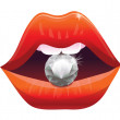 Royalty-Free Stock Vector Image: Sexy lips with diamond - vector illustration