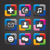 Set of nine vector social media buttons on black background — Vecteur