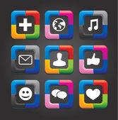 Siyah arka plan üzerine dokuz vektör sosyal medya düğmeleri ayarlamak — Stok Vektör