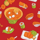 Seamless pattern with japan food - vector illustration — Stock Vector