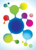 Vector molecule structure in rainbow colors — Stock Vector