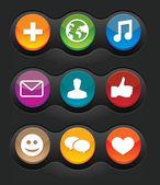 Sada devíti vektorové sociální média tlačítek — Stock vektor