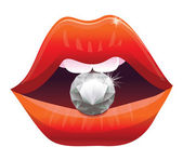 Sexy lips with diamond - vector illustration — Vettoriale Stock