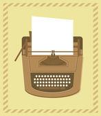 Máquina de escrever em estilo retro - cartão de vetor — Vetor de Stock