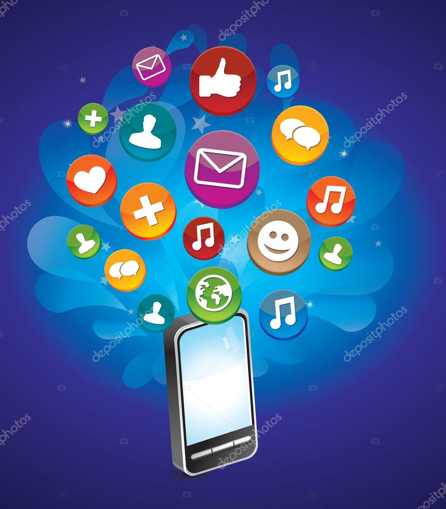 Phone with bright social media icons - vector illustration  Stock Vector #8907780