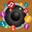 Music concept - vector dynamic with bright notes — Stock Vector