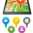 Gps navigator with bright markers — Stock Vector