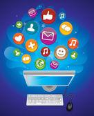 Koncept sociální média — Stock vektor