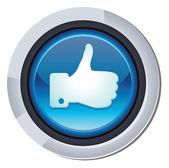 Глянцевый круглая кнопка с facebook как знак — Cтоковый вектор