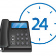 Vettoriale Stock : Black phone - 24 hour support