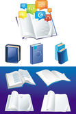 Vector set of blue books in different viewpoints — Stock Vector