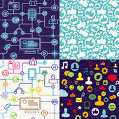 R seamless pattern with social media icons — Stock Vector
