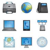 Phones, printer, connection, network — Stock Vector