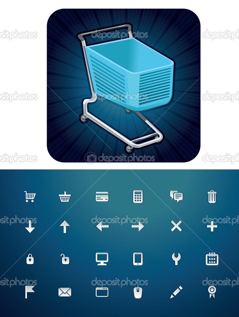 Vector icon set with shopping cart — Stock Vector #9838082