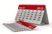 2013 år kalender. april. isolerade 3d-bild — Stockfoto
