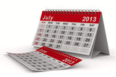 2013 year calendar. July. Isolated 3D image — Stock Photo