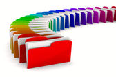 Multicolor computer folder on white background. Isolated 3d imag — Stock Photo