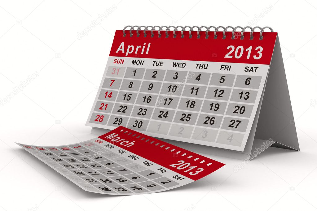 2013 year calendar. April. Isolated 3D image — Stock Photo #10069923