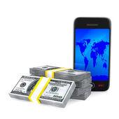 Telefon i środków pieniężnych na białym tle. na białym tle obraz 3d — Zdjęcie stockowe