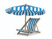 Deckchair and parasol on white background. Isolated 3D image — Stock Photo